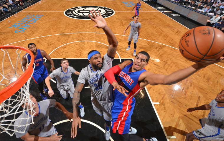 BROOKLYN, NY - NOVEMBER 2: Tobias Harris #34 of the Detroit Pistons goes up for the layup against the Brooklyn Nets on November 2,2016 at Barclays Center in Brooklyn, New York. NOTE TO USER: User expressly acknowledges and agrees that, by downloading and or using this Photograph, user is consenting to the terms and conditions of the Getty Images License Agreement. Mandatory Copyright Notice: Copyright 2016 NBAE (Photo by Jesse D. Garrabrant/NBAE via Getty Images)