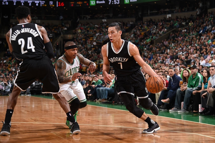 BOSTON, MA - APRIL 10: Jeremy Lin #7 of the Brooklyn Nets handles the ball against the Boston Celtics on April 10, 2017 at the TD Garden in Boston, Massachusetts. NOTE TO USER: User expressly acknowledges and agrees that, by downloading and or using this photograph, User is consenting to the terms and conditions of the Getty Images License Agreement. Mandatory Copyright Notice: Copyright 2017 NBAE (Photo by Brian Babineau/NBAE via Getty Images)